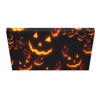 Jack O' Lantern Glowing Faces Stretched Canvas Prints