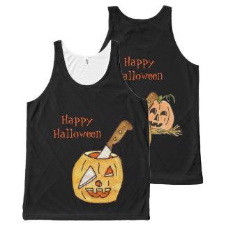 Jack-O- Lantern Halloween All-Over Print Singlet