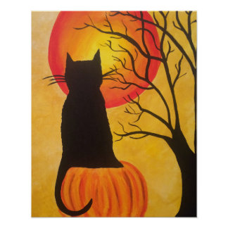 Jack O Lantern Halloween Black Cat Pumpkin Poster