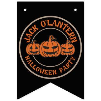 Jack O' Lantern.  Halloween Party. Bunting