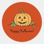 Jack O Lantern Halloween Round Sticker