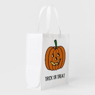 Jack o Lantern  Halloween Trick Or Treat Bag Reusable Grocery Bag