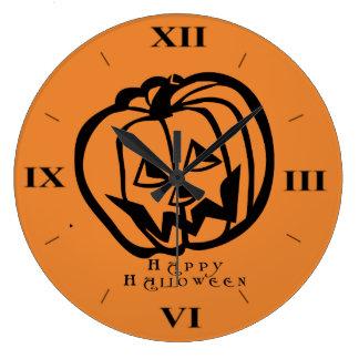 Jack-O-Lantern Halloween Wall Clock by Julie