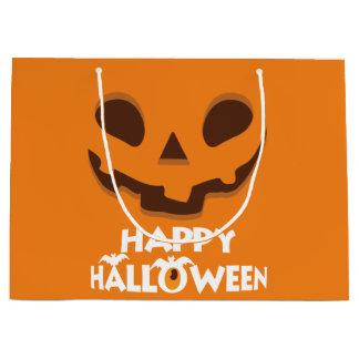Jack O' Lantern.  Happy Halloween. Large Gift Bag