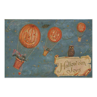 Jack O Lantern Hot Air Balloon Black Cat Owl Photo
