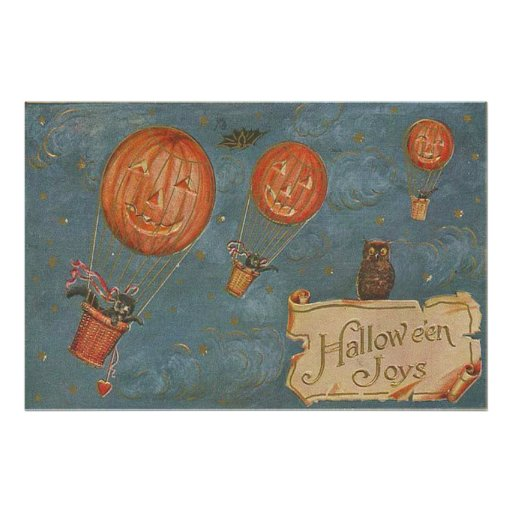 Jack O' Lantern Hot Air Balloon Black Cat Owl Photo