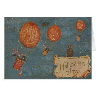 Jack O' Lantern Hot Air Balloon Owl Black Cat Greeting Card