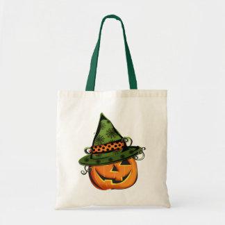 Jack-O-Lantern in Hat Tote Bags