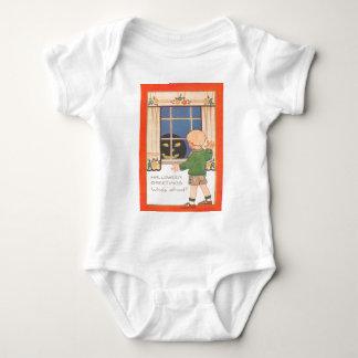 Jack O Lantern In Window Scared Boy Baby Bodysuit