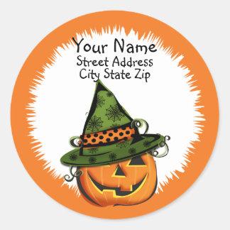 Jack-O-Lantern in Witch Hat Address Label