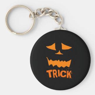 Jack o Lantern Basic Round Button Key Ring