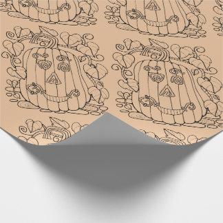 Jack O Lantern Line Art Design Wrapping Paper