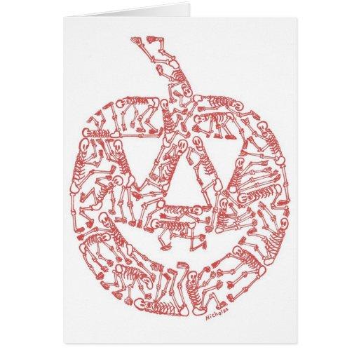 JACK-O-LANTERN made of Skeletons Greeting Card