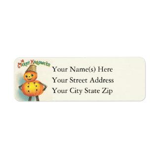 Jack O Lantern Man Vintage Halloween Return Address Label