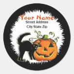 Jack-O-Lantern N Cat Address Label Round Sticker