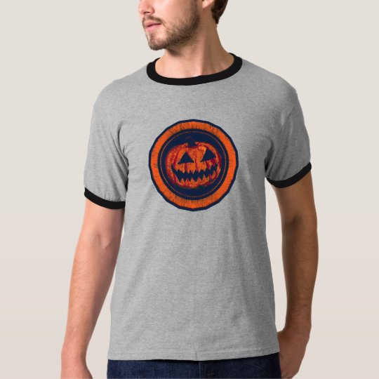 Jack O Lantern Octagon Orange Worn Look T-Shirt