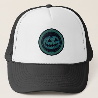 Jack O Lantern Octagon Sea Green Worn Look Trucker Hat