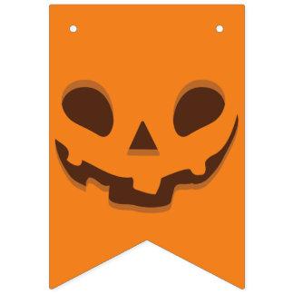 Jack O' Lantern on Pumpkin Background. Bunting