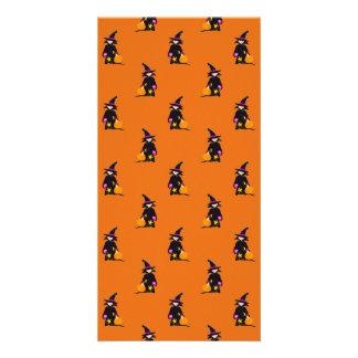 Jack o Lantern Orange Halloween Toddler Witch Customized Photo Card