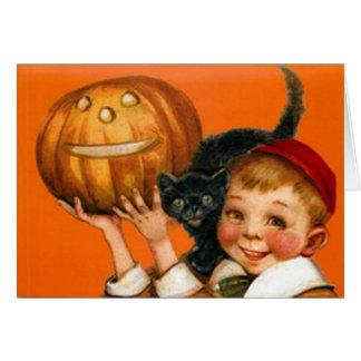 Jack O Lantern Pumpkin Black Cat Boy Greeting Card