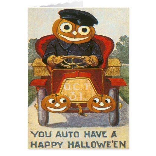 Jack O Lantern Pumpkin Car Oct 31st Card