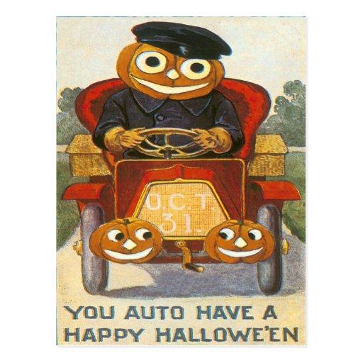 Jack O Lantern Pumpkin Car Oct 31st Post Cards