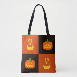 Jack O Lantern Pumpkin Face Halloween Tote Bag