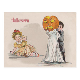 Jack O' Lantern Pumpkin Ghost Trick Or Treat Postcard
