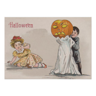 Jack O' Lantern Pumpkin Ghost Trick Or Treat Poster