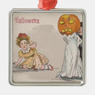 Jack O' Lantern Pumpkin Ghost Trick Or Treat Silver-Colored Square Decoration