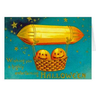 Jack O' Lantern Pumpkin Hot Air Balloon Card