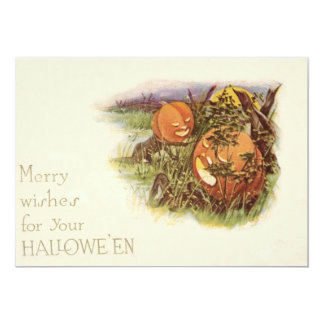 Jack O' Lantern Pumpkin Monster Full Moon 13 Cm X 18 Cm Invitation Card