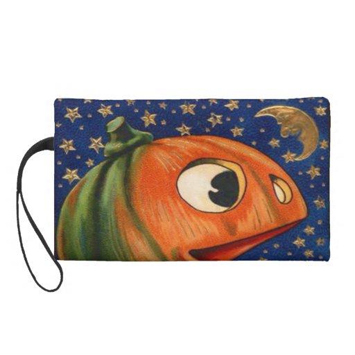 Jack O Lantern Pumpkin Moon Stars Wristlet Purse