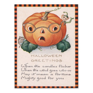 Jack O Lantern Pumpkin Mouse Elf Postcard