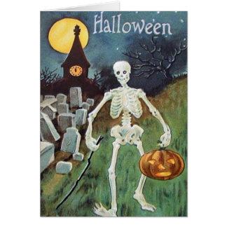 Jack O' Lantern Pumpkin Skeleton Cemetery Greeting Card