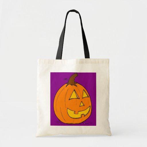 Jack o' Lantern Purple Tote Bag