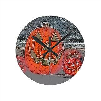 Jack-O Lantern Round Clock
