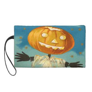 Jack O Lantern Scarecrow Stars Pumpkin Wristlet Clutch