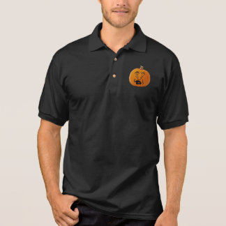 Jack o' Lantern Scared Face, Halloween Pumpkin Polo Shirt