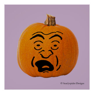 Jack o' Lantern Scared Face, Halloween Pumpkin Poster