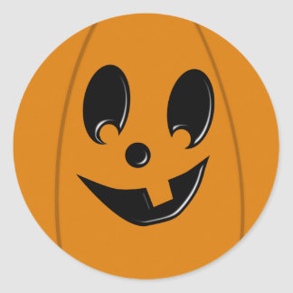 Jack-O-Lantern Silly Face Round Circle Sticker