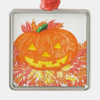 Jack-O-Lantern Silver-Colored Square Decoration