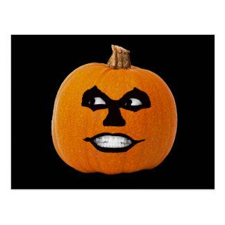 Jack o' Lantern Sinister Face, Halloween Pumpkin Postcard