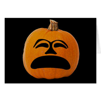 Jack o' Lantern Unhappy Face, Halloween Pumpkin Card