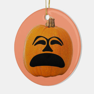 Jack o' Lantern Unhappy Face, Halloween Pumpkin Ceramic Ornament