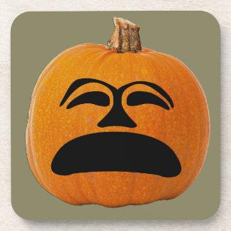 Jack o' Lantern Unhappy Face, Halloween Pumpkin Coaster