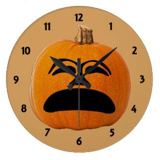 Jack o' Lantern Unhappy Face, Halloween Pumpkin Large Clock