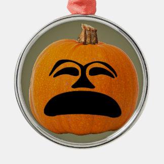 Jack o' Lantern Unhappy Face, Halloween Pumpkin Metal Ornament