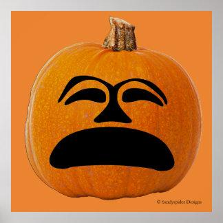Jack o' Lantern Unhappy Face, Halloween Pumpkin Poster