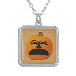 Jack o' Lantern Unhappy Face, Halloween Pumpkin Silver Plated Necklace